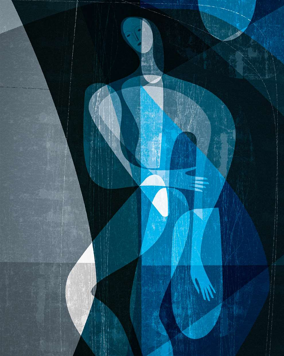 Paul Wearing, Digital textural illustration of a naked figurative body in blue water.