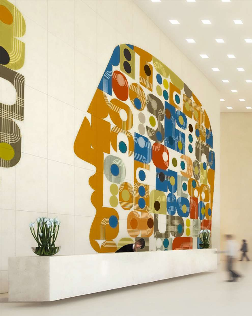 Paul Wearing, Large scale Mural Art in situ of a series of geometric shapes making up a side profile of a man's head.