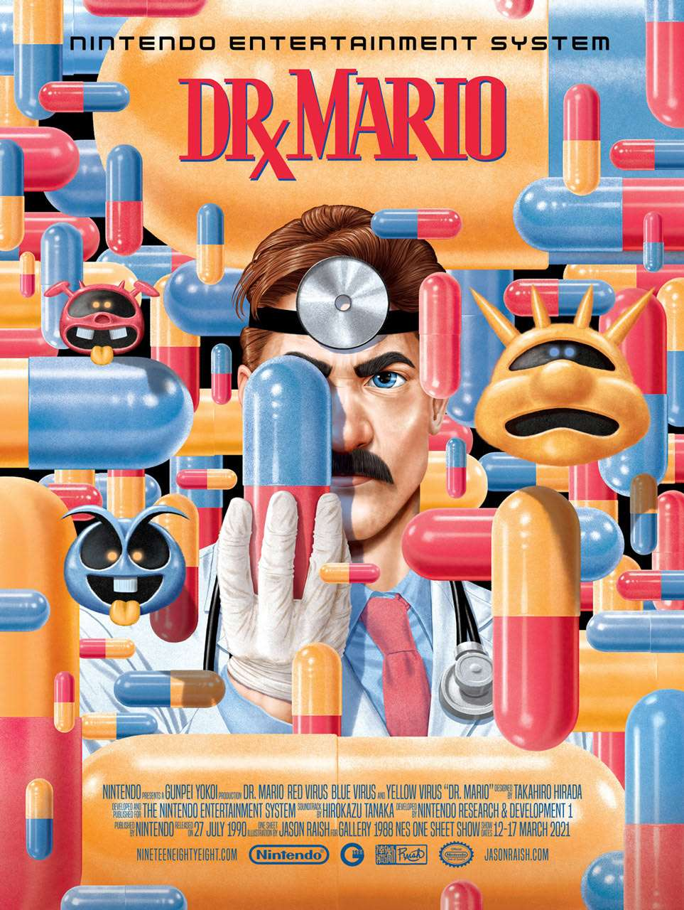 Jason Raish, Dr Mario 16x20″ poster releasing March 12th at noon California time for Gallery 1988′s NES One Sheet poster show where OG Nintendo games get the Movie Poster treatment.