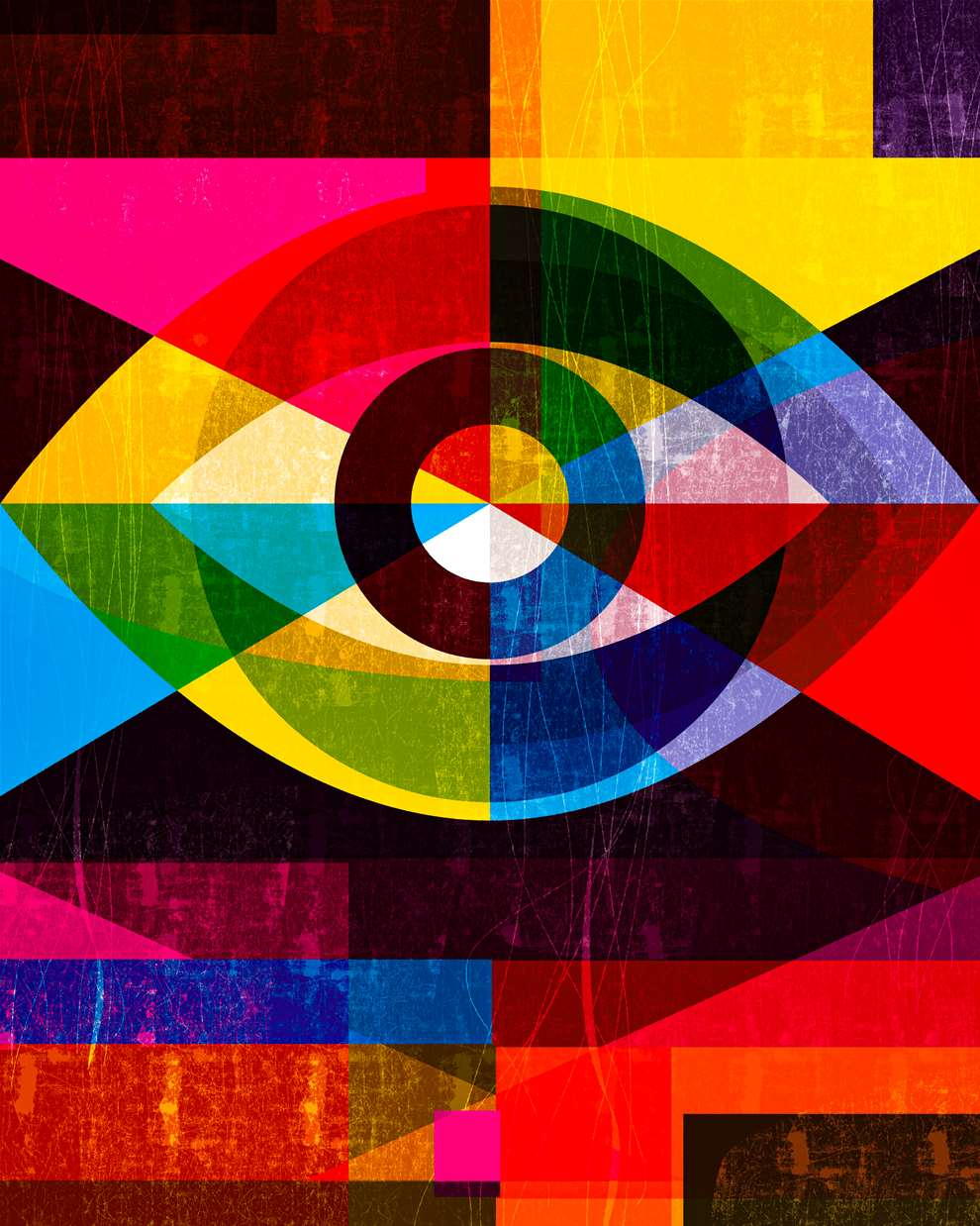 Paul Wearing, Digital textural bold illustration of an eye, with bright colours and overlapping shapes.