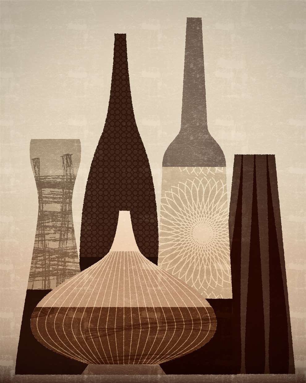Paul Wearing, Textural digital illustration of vases, with detailed line patterns.