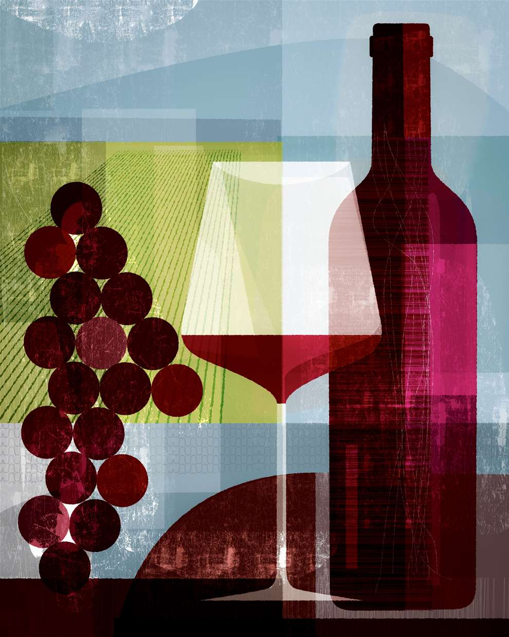 Paul Wearing, Paul Wearing Digital,  Layered,  Textural Illustration of Red Wine Bottle, Wine Glass and Grapes.