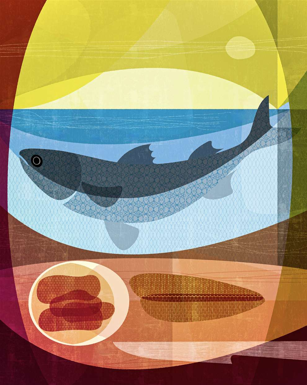 Paul Wearing, Digital Textural Summery Illustration of a meal including a fish.