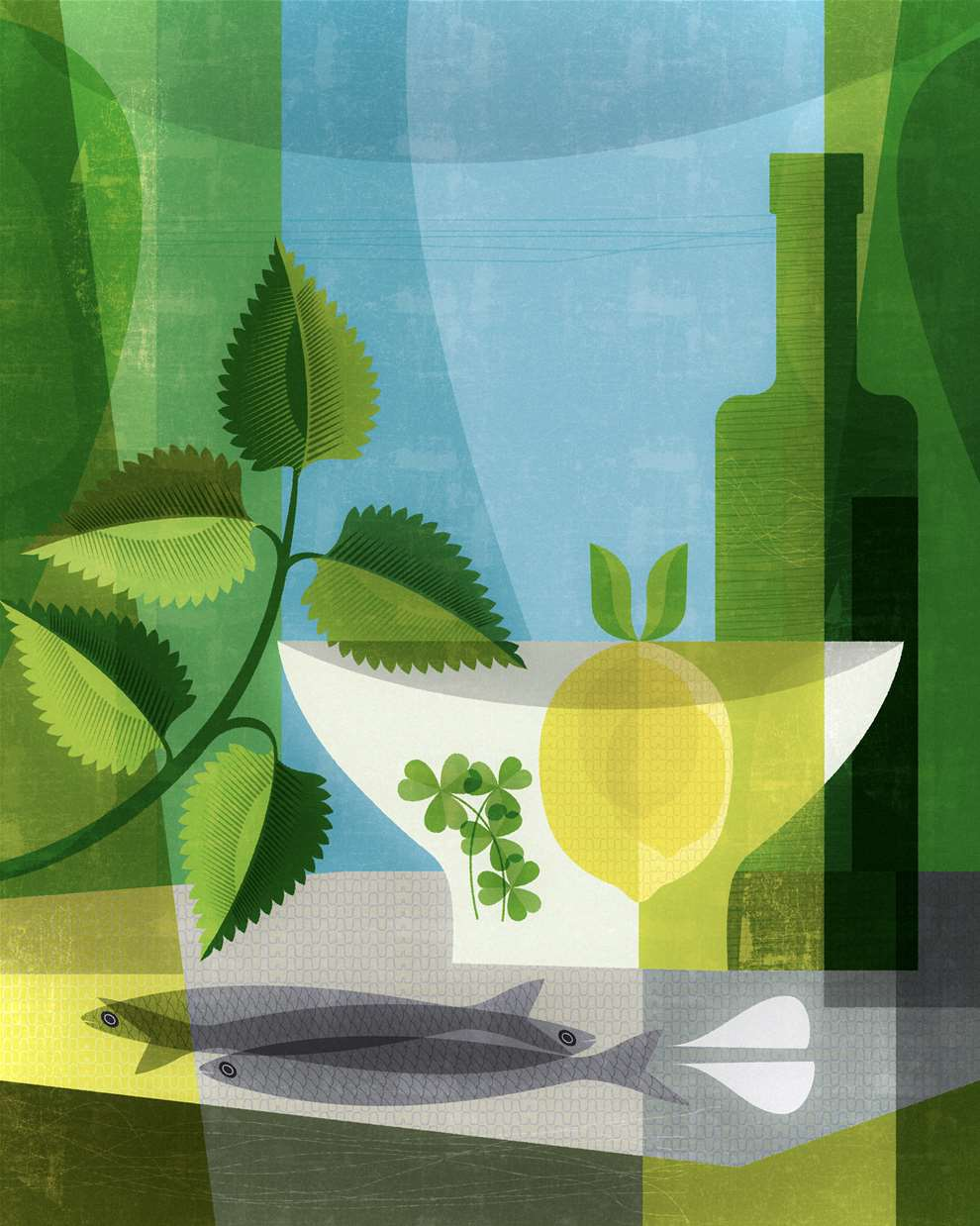 Paul Wearing, Digital Playful Textural Summery Illustration of a Cocktail, with green and yellow overlapping shapes.