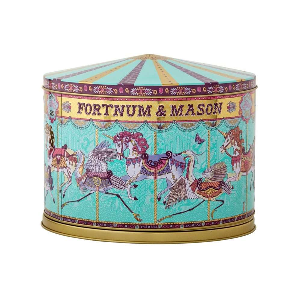 Alice Pattullo, Illustration for the Fortnum & Mason Merry Go Round Musical Biscuit Tin, designed by Design Bridge.