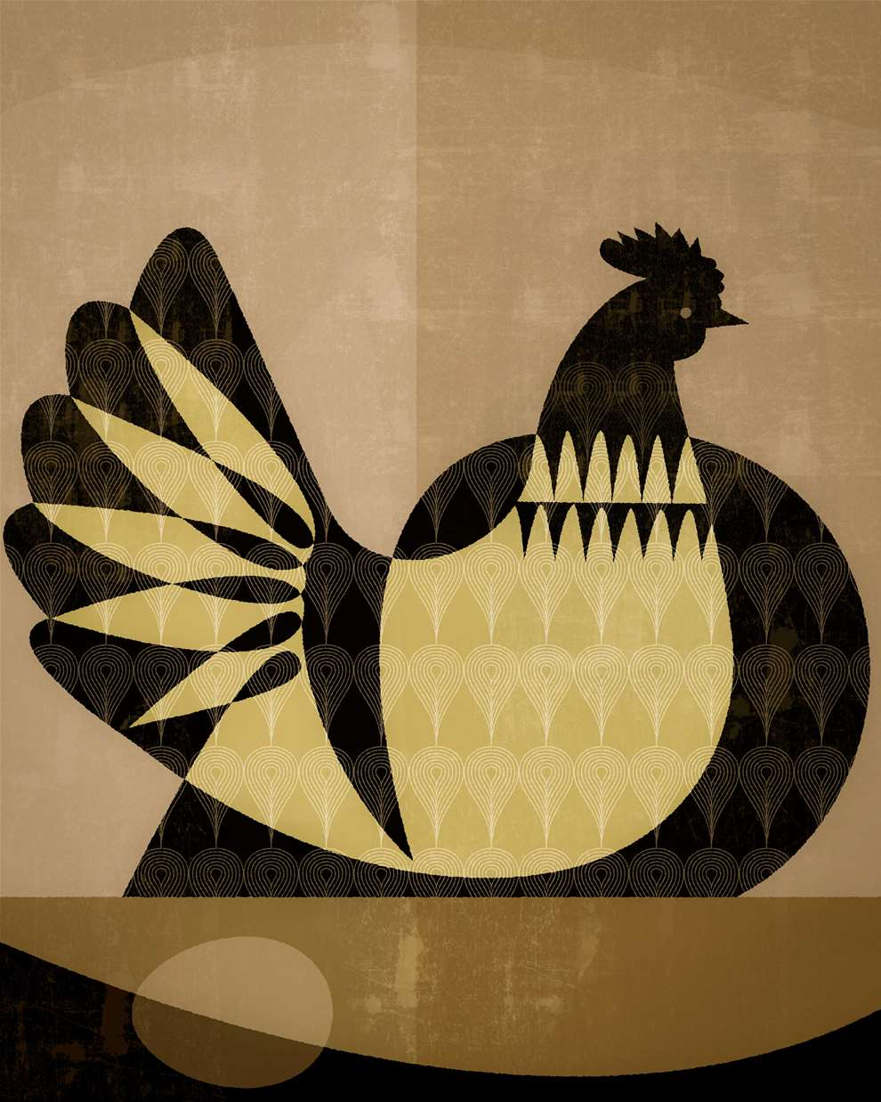 Paul Wearing, Digital vector illustration of a chicken laying an egg in sepia. Block cut out style.