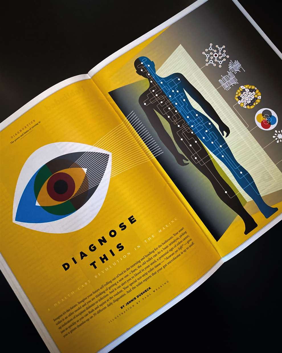 Paul Wearing, Interior spread of medical magazine showing a conceptual and scientific illustration of a human body.