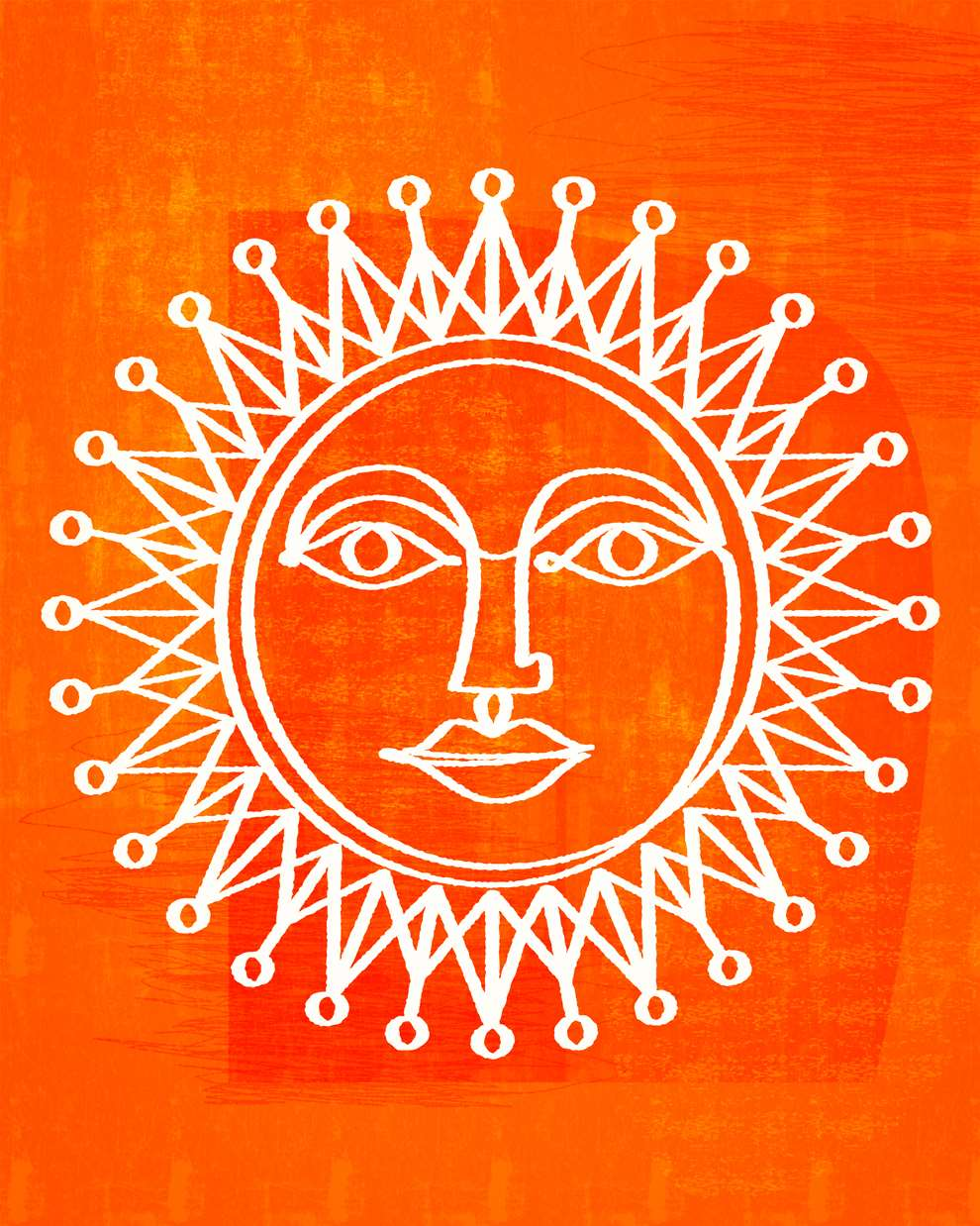 Paul Wearing, Digital line drawing of a sun on a bright textural orange background.