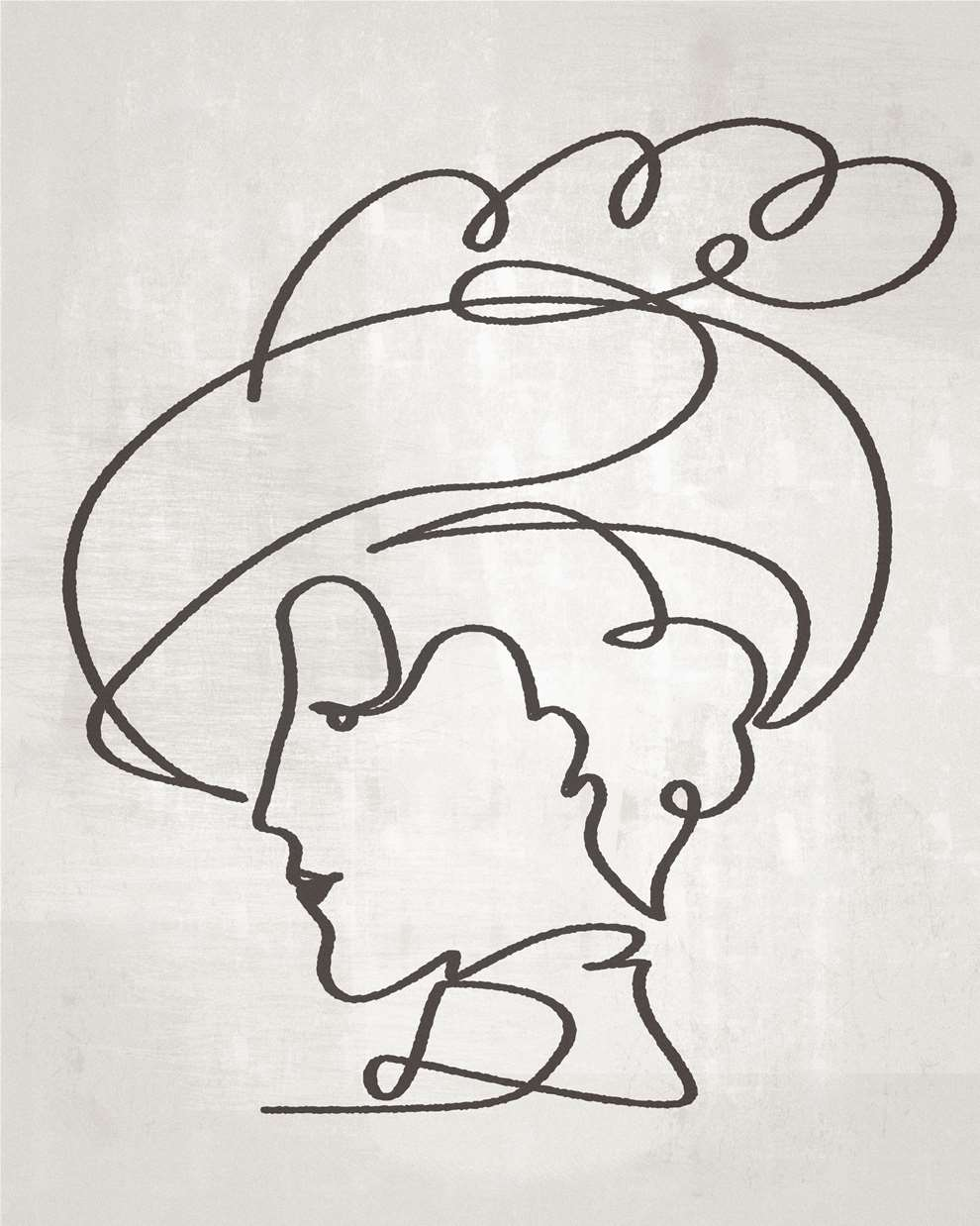 Paul Wearing, Line drawing illustration of an elegant lady in a hat on a grey textural background.