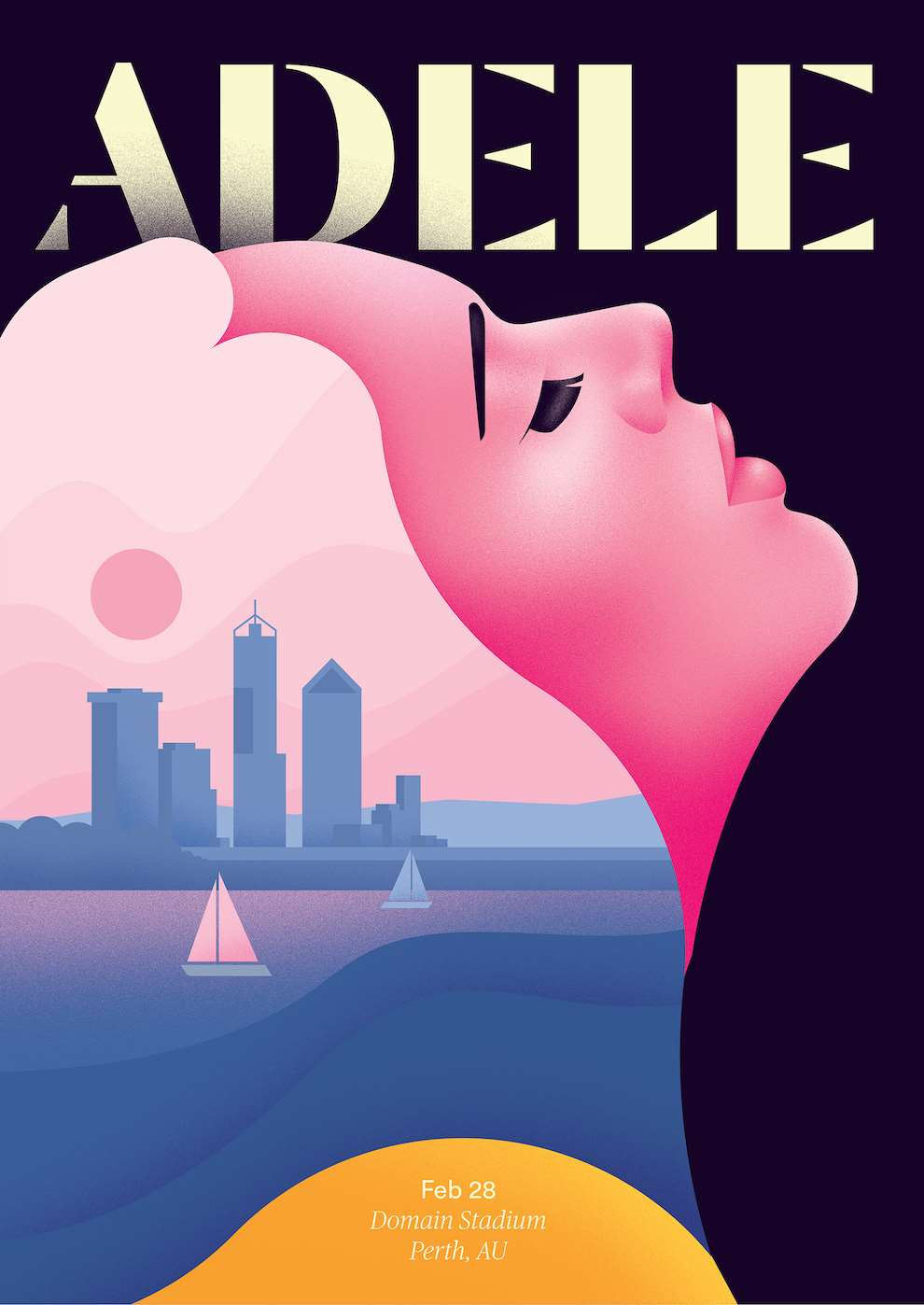 Jack Daly, Illustrated graphic poster with silhouette of Adele.