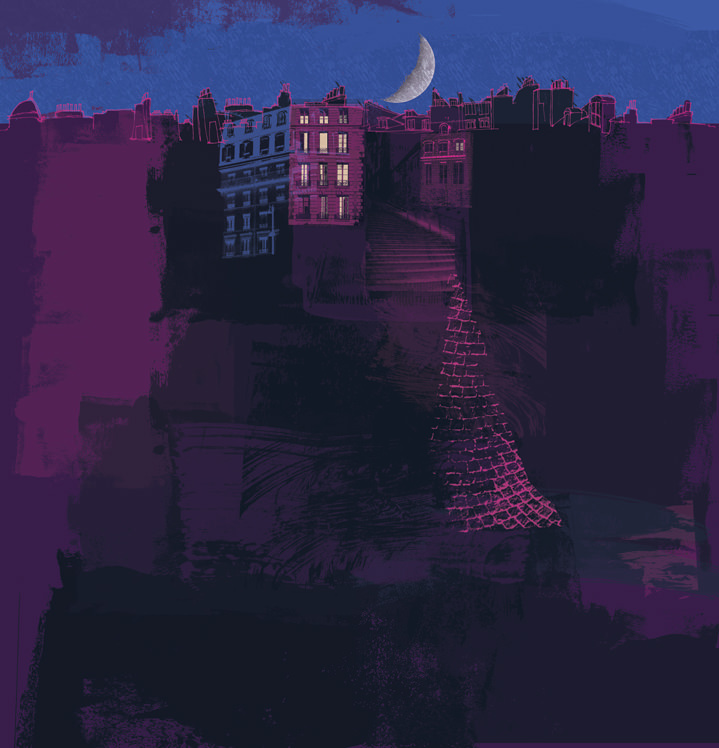 Kate Miller, Hand sketch illustration using collage and digital layers. Painterly scenery of a city at night with a purple hue, and the moon.