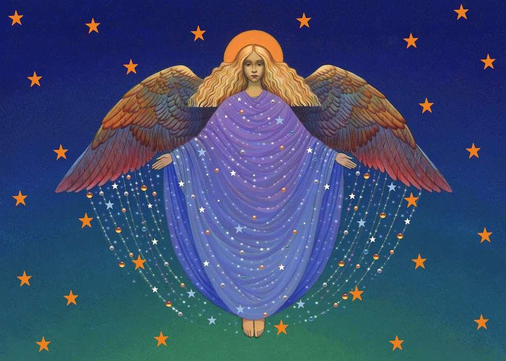 Carol Lawson, Retro handpainted illustration of a Christmas Angel