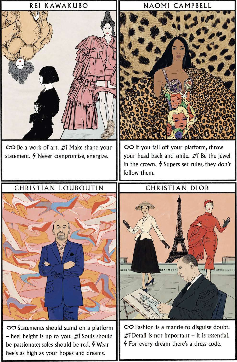 Anna Higgie, Pencil illustration of famous clothe designer