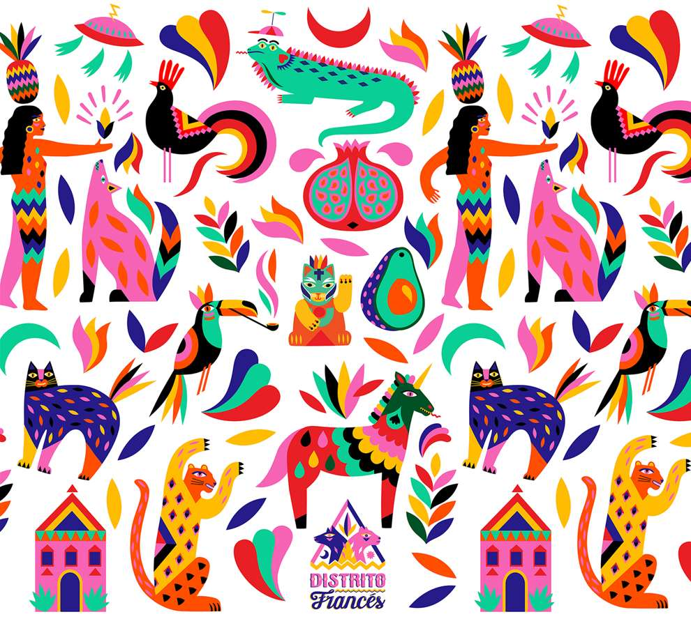 Margaux Carpentier, Vibrant bold pattern illustration for Distrito Frances.