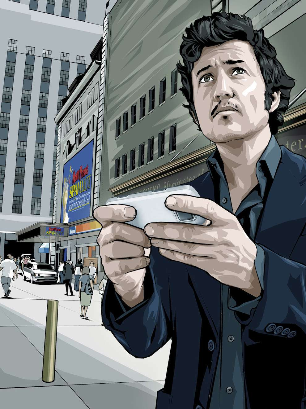 Benjamin Wachenje, Photorealistic illustration of a man holding a phone for an advertising