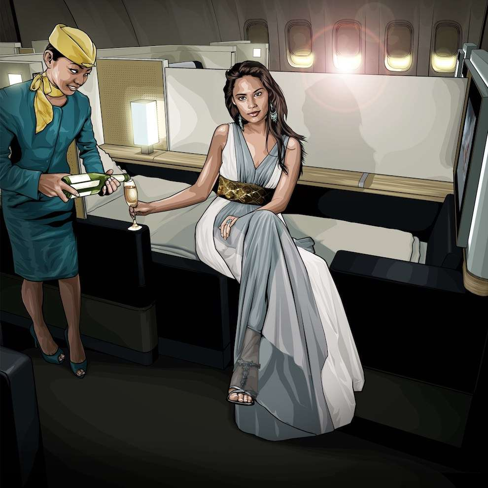 Benjamin Wachenje, Photo realistic digital vectorise illustration in a luxury plane with a female flight attendant serving champagne to an other female
