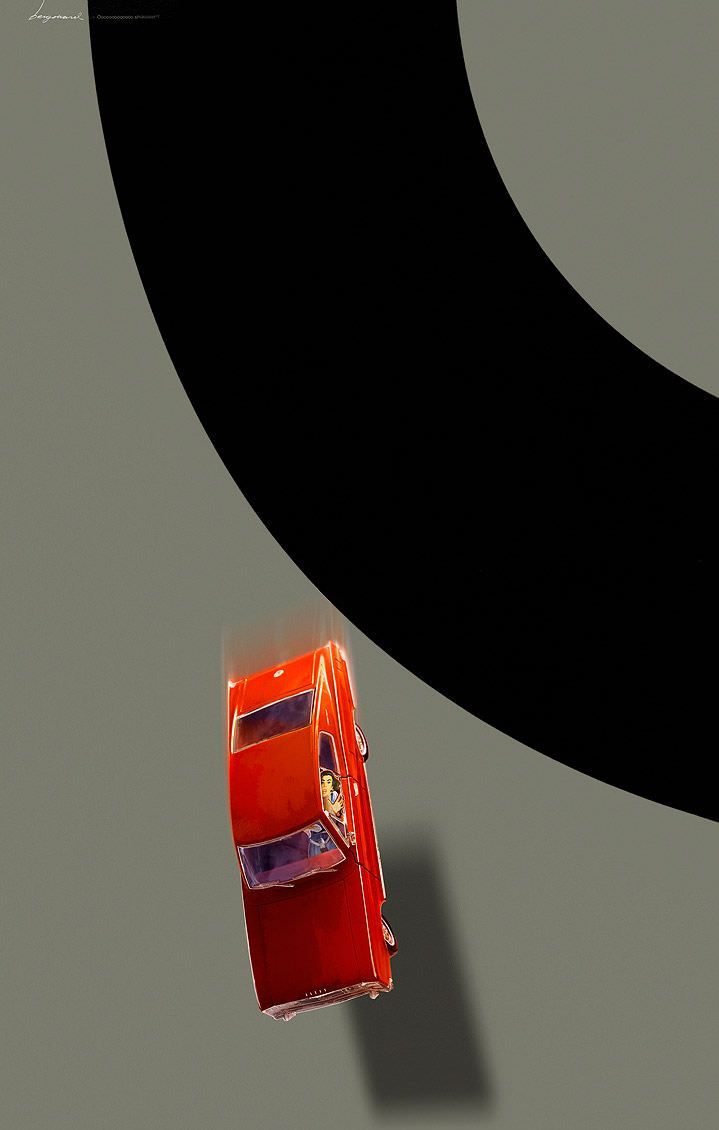 Jonas Bergstrand, Narrative poster illustration of a red car falling. Bold grey and black background