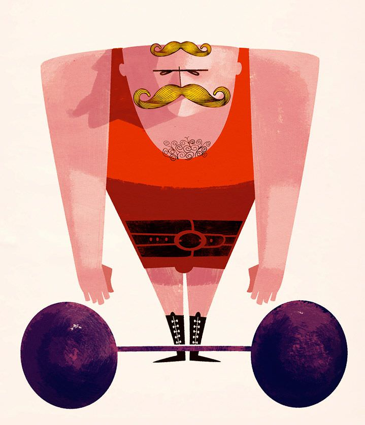 jonas bergstrand, poster, weight lifter, texture, red, moustache, cartoon, character, illustration, illustrator, hand drawn, graphic, bold, detail, texture, man, advertising, vintage, retro, moustache