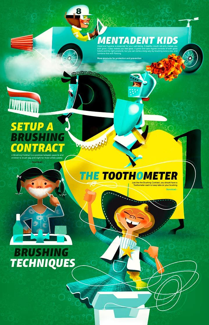 poster, green, brushing teeth, dental, cosmetic, health, beauty, regime, advertising, instructional, step by step, how to, mentadent, realistic, handdrawn, collage, cutout