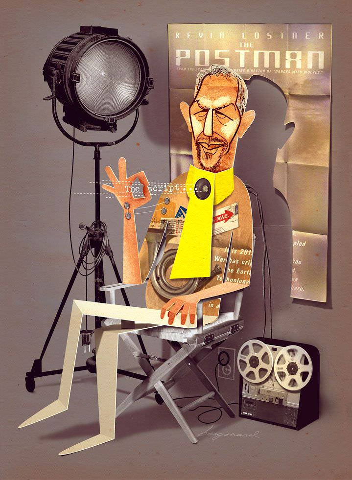 jonas bergstrand, person, cutout, figure, portrait, film, movie, illustration, illustrator, realistic, hand drawn, digital, behind the scenes, interview, the postman, kevin costner, Collage, Cut Paper, Figurative, Mixed Media, Paper Sculpture, 3-D Collage