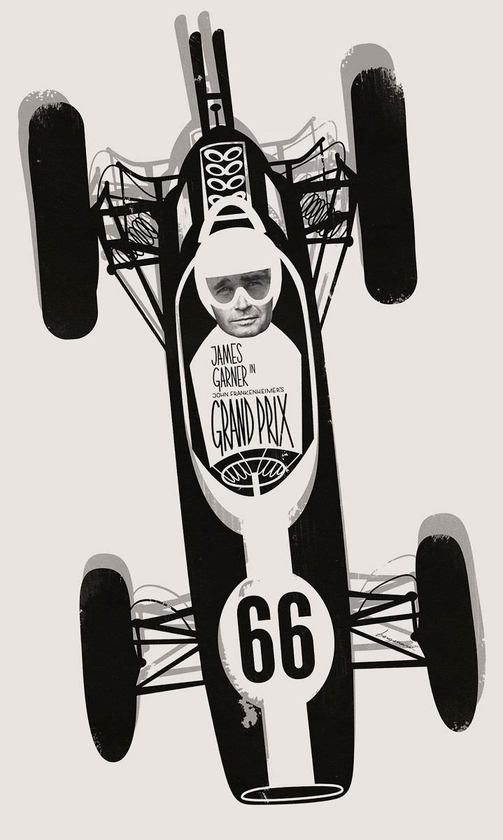 Jonas Bergstrand, Black and white vector illustration of vintage racing car with photo montage of the pilot