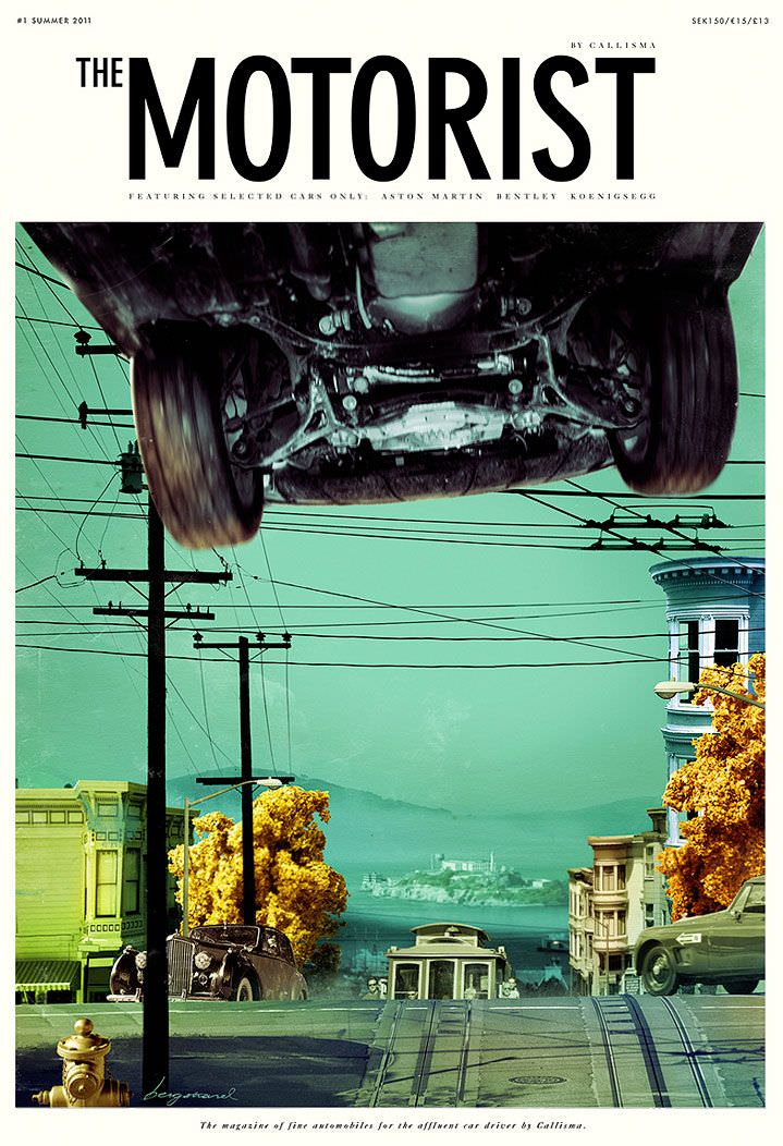 the motorist, cover, jonas bergstrand, yellow, green, scenery, flying car, motor, photo realism, realistic, mirror, reflection, driving, illustration, illustrator, mixed media, collage