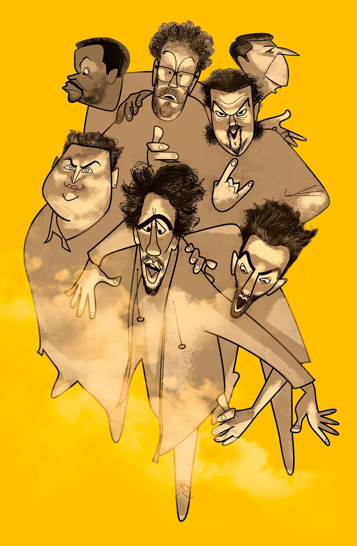 jonas bergstrand, yellow, men, characters, charicature, poster, campaign, advertising, graphic, hand drawn, , exhibition, figure, illustration, illustrator