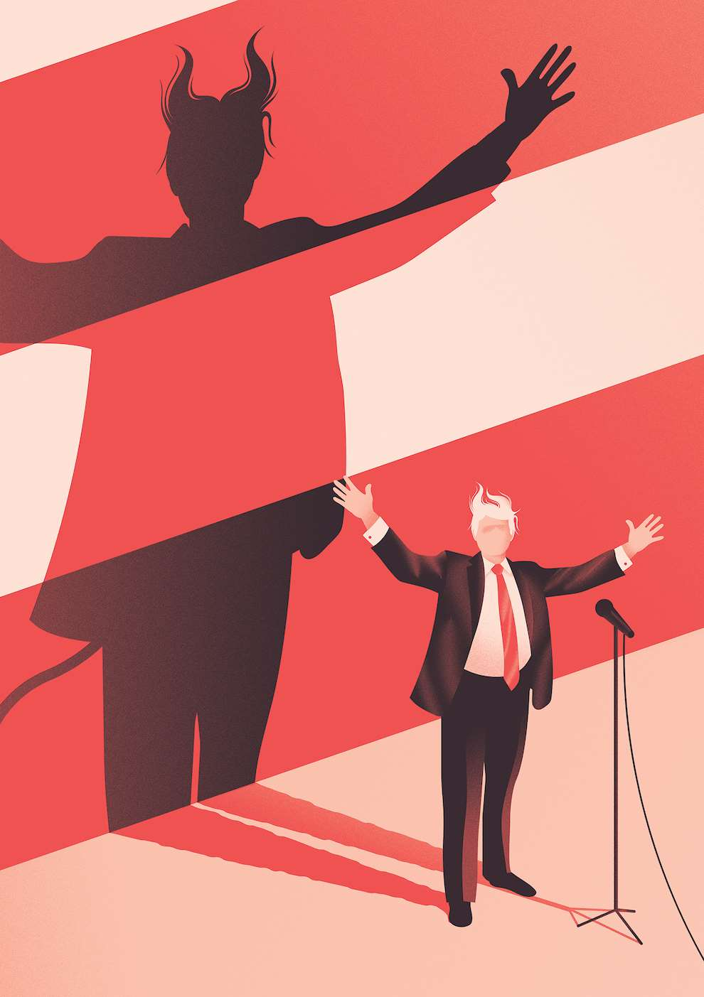 Jack Daly, Digital illustration of Trump, with shadow portraying him as the devil.