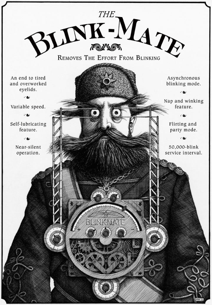 Mike Wilks, Surreal medical invention used on beard man. Black and white illustration in etching style.