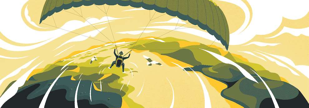 Jack Daly, Digital graphic illustration of man paragliding above a river in the countryside. Monochrome colour palette of green.