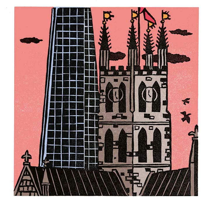 Christopher Brown, Linocut illustration of London monument