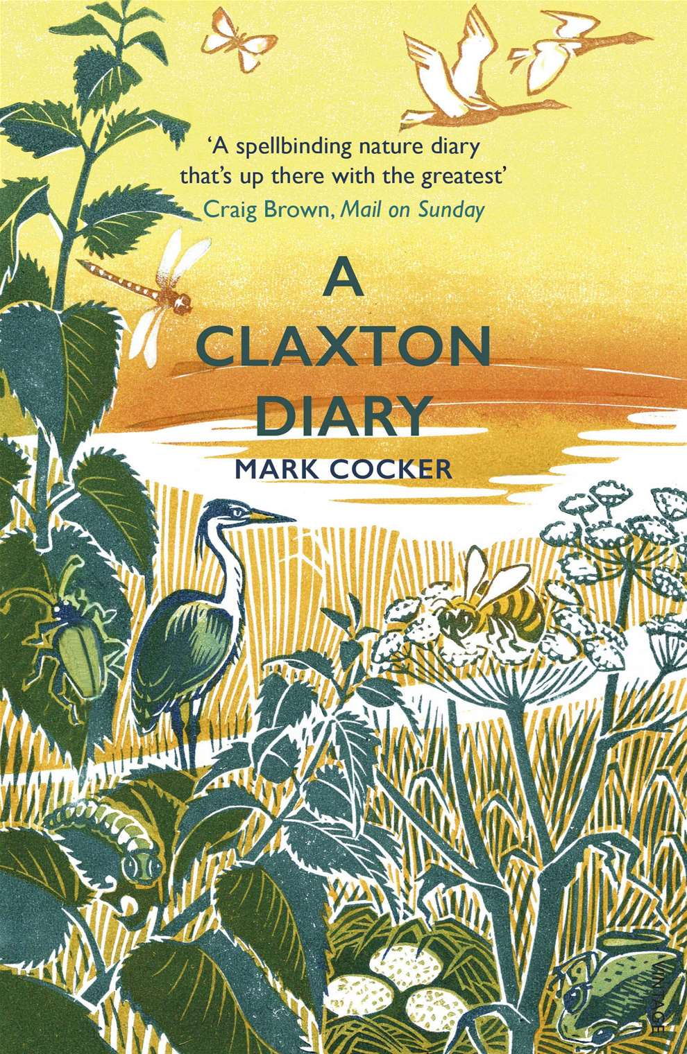 Clare Melinsky, Linocut book cover illustration wfor A Claxton's Diary by Mark Cocker - botanical cover with flowers and wildlife surrounding.