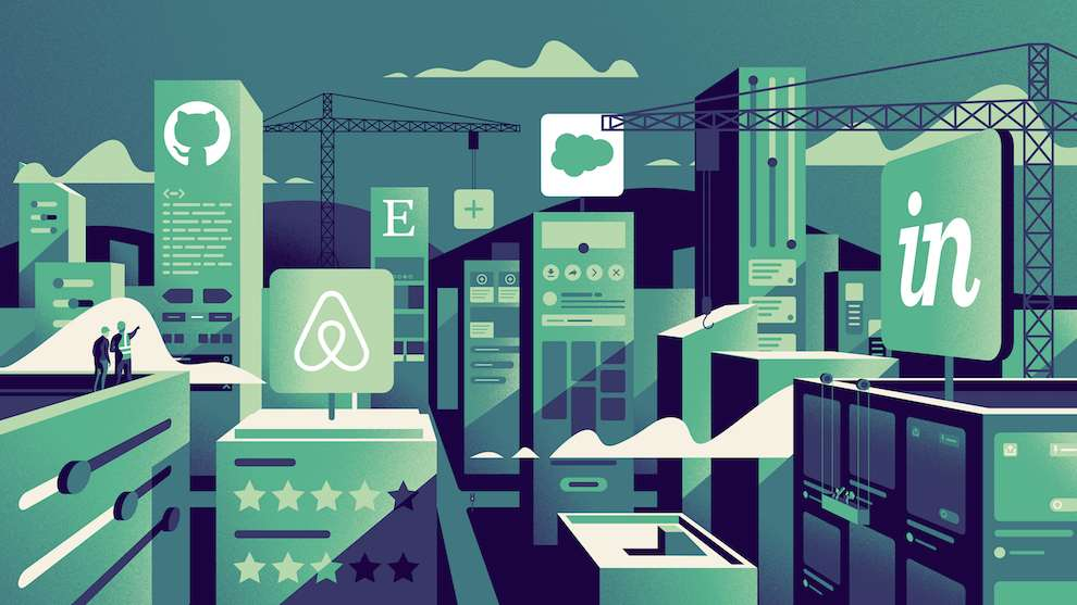 Jack Daly, Digital Illustration of cityscapes which mirror apps including Airbnb and Etsy.