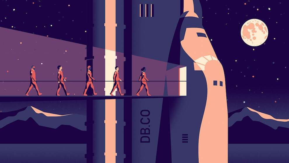 Jack Daly, Digital illustration of astronauts forming a line into a rocket, with stars and the moon in the background. ,