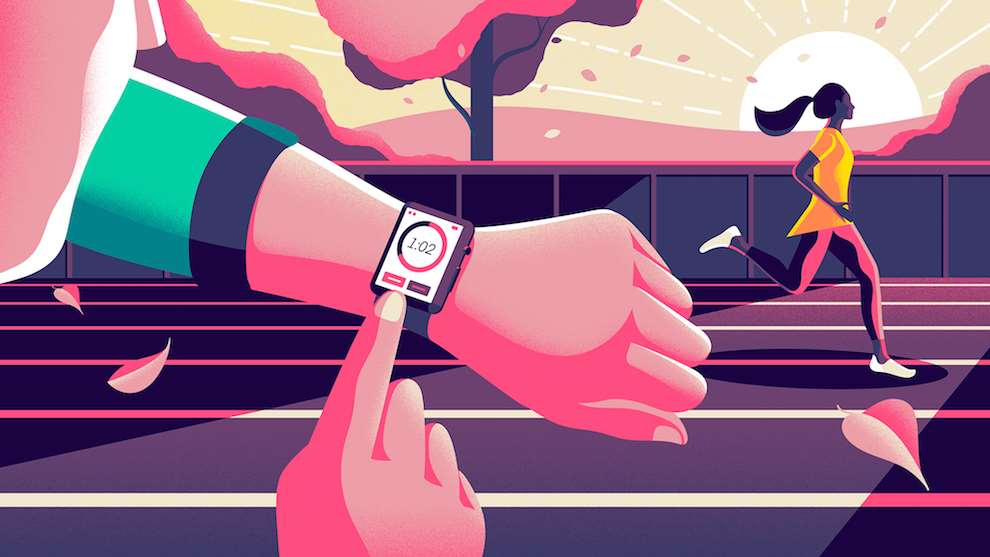 Jack Daly, Digital graphic illustration of a watch on a wrist, with a woman sprinting in the background.