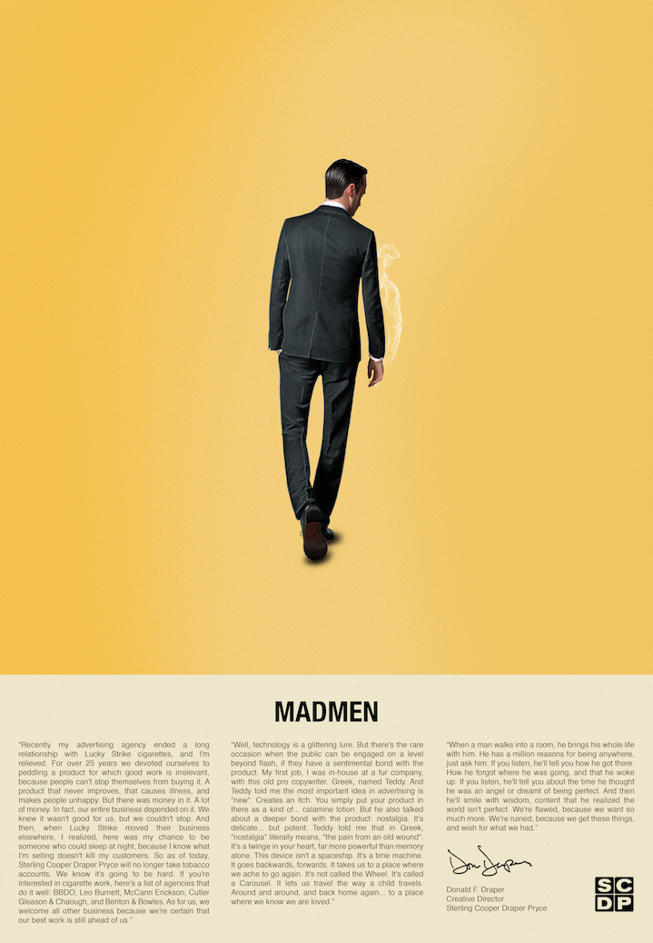 Doaly, Mad man alternative retro poster illustration. Man in suits from the back in a yellow background. Newspaper article on the bottom
