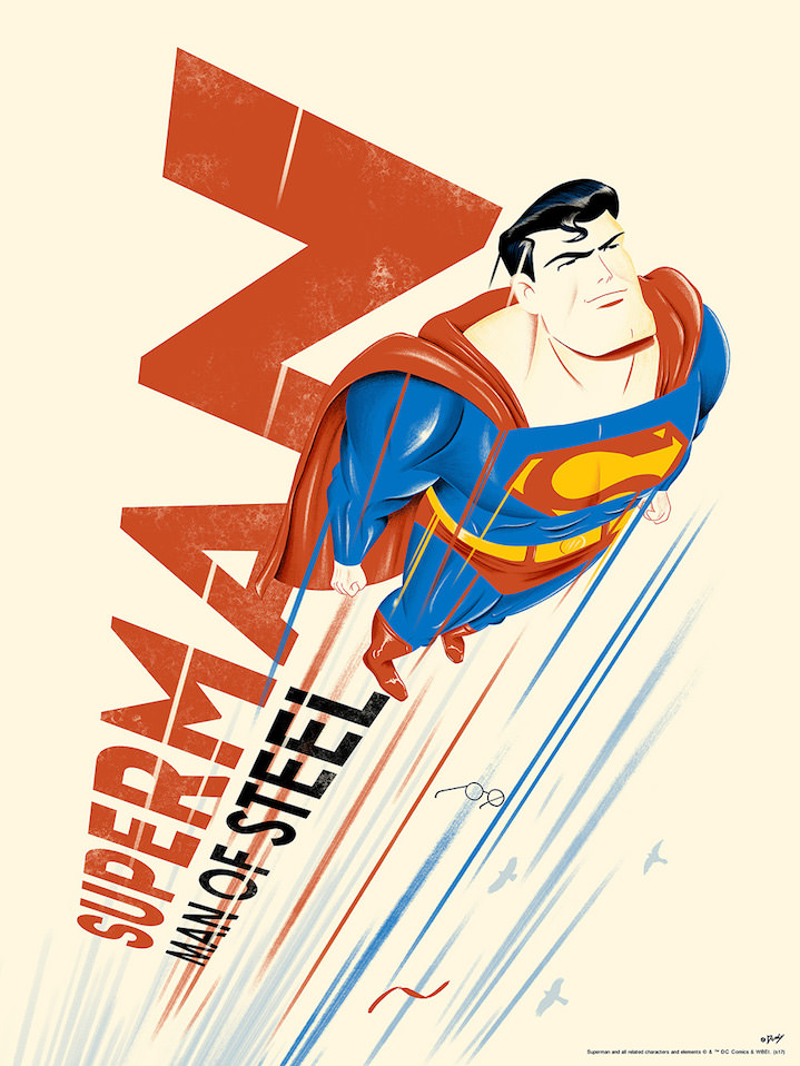 Doaly, Graphic and bold digital poster of Superman flying