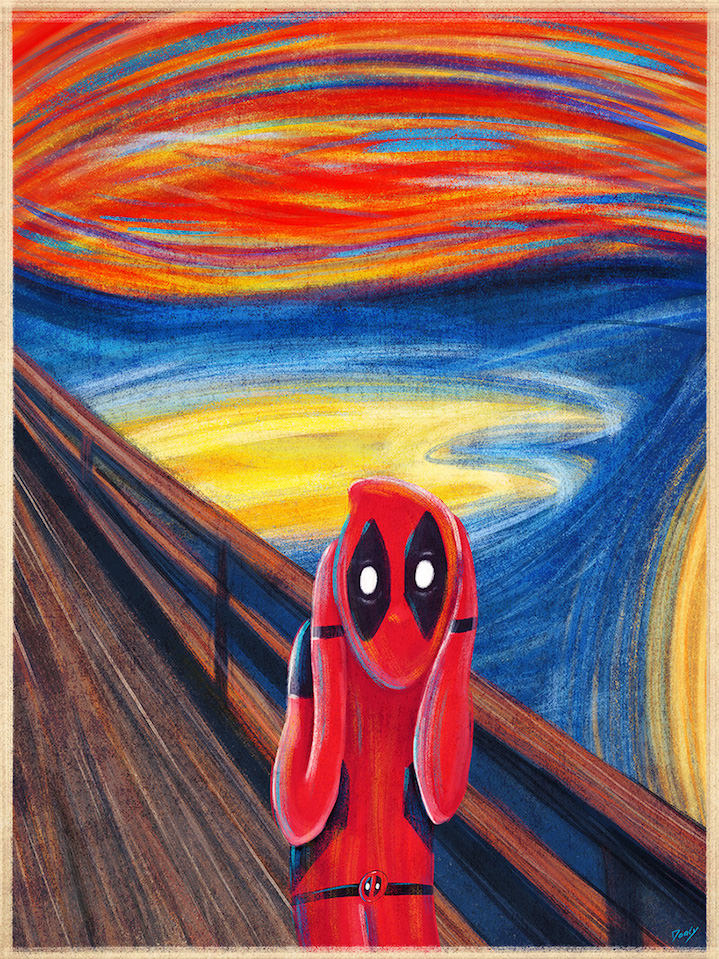 Doaly, Pastiche of the fine art painting the scream with spiderman