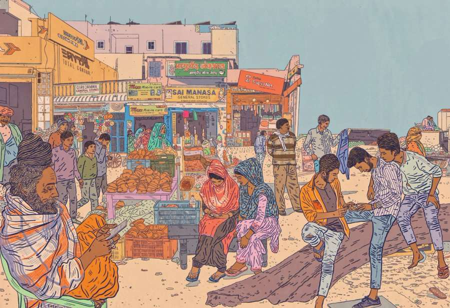 Anna Higgie, Detailed illustration of a market scene in India, exploring rise of use of mobile phones. Editorial illustration for Trust Magazine.