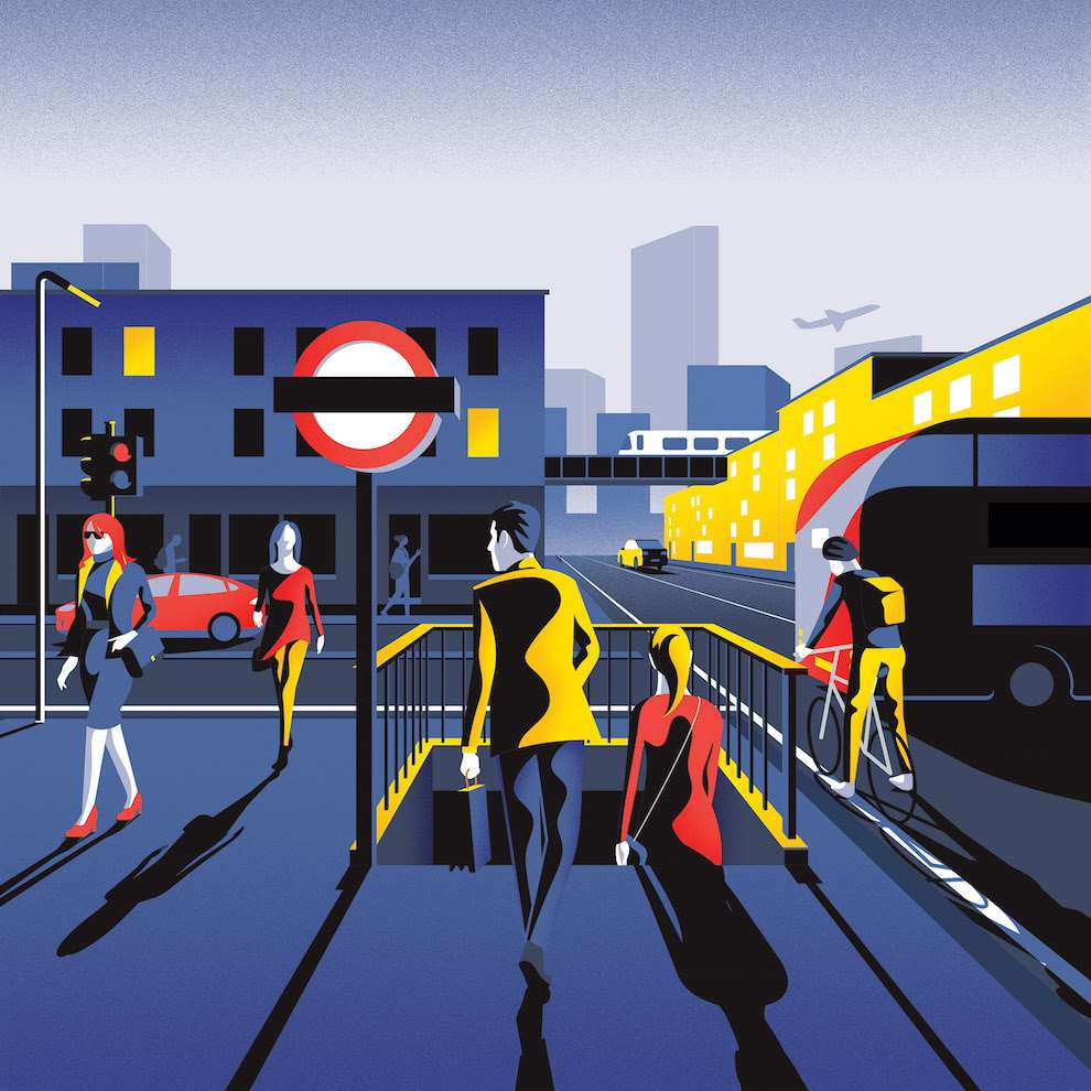 Jack Daly, Digital Illustration of London, with characters walking and London underground sign.