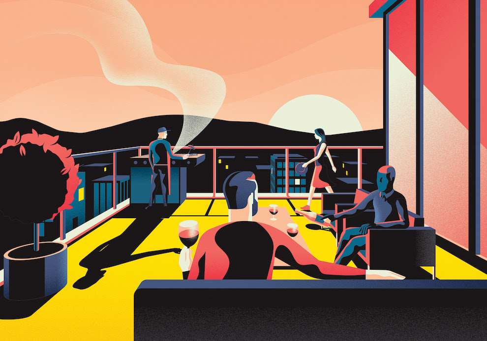 Jack Daly, Digital illustration of people relaxing on a rooftop terrace having a BBQ.