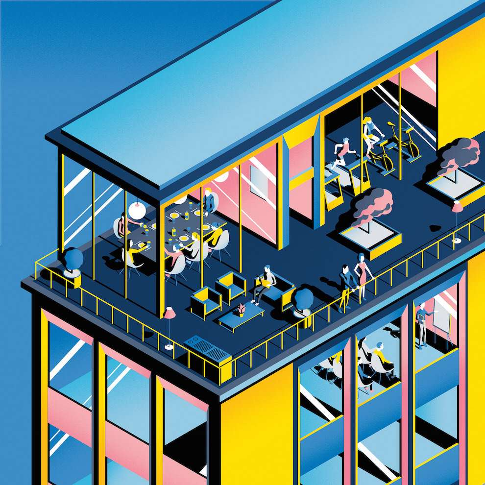 Jack Daly, Isometric graphical digital illustration of people dining, gymming, learning and relaxing in a hotel.