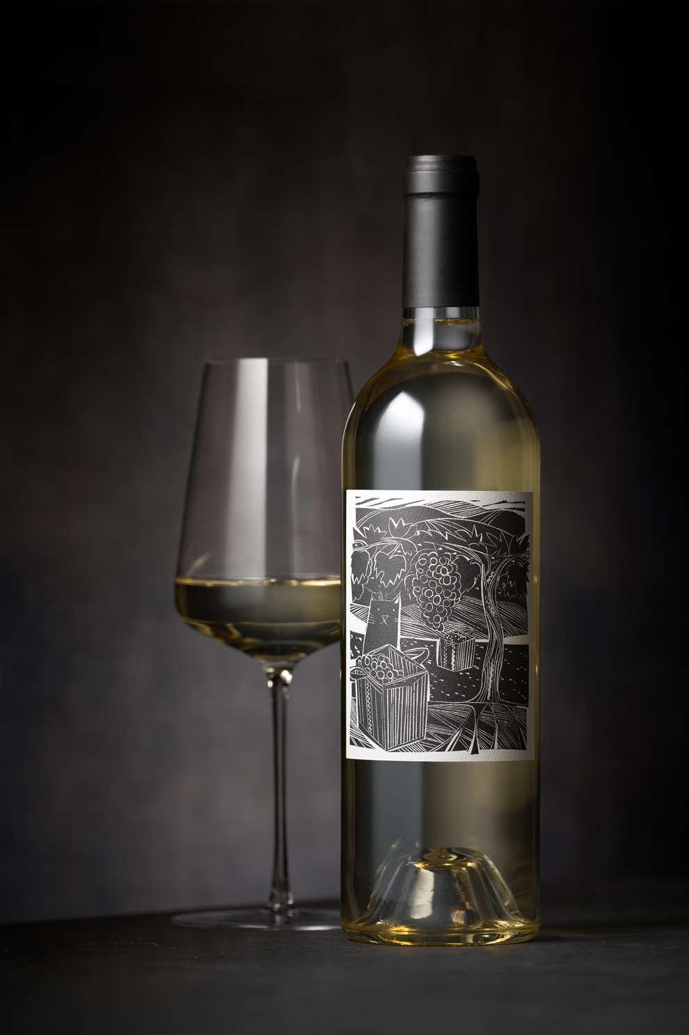 Jonathan Gibbs, Jonny Gibbs Linocut Wine Label for Fluent Wines