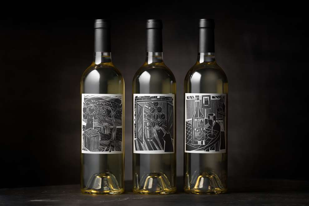 Jonathan Gibbs, Linocut wine label illustrations for Fluent Wines.