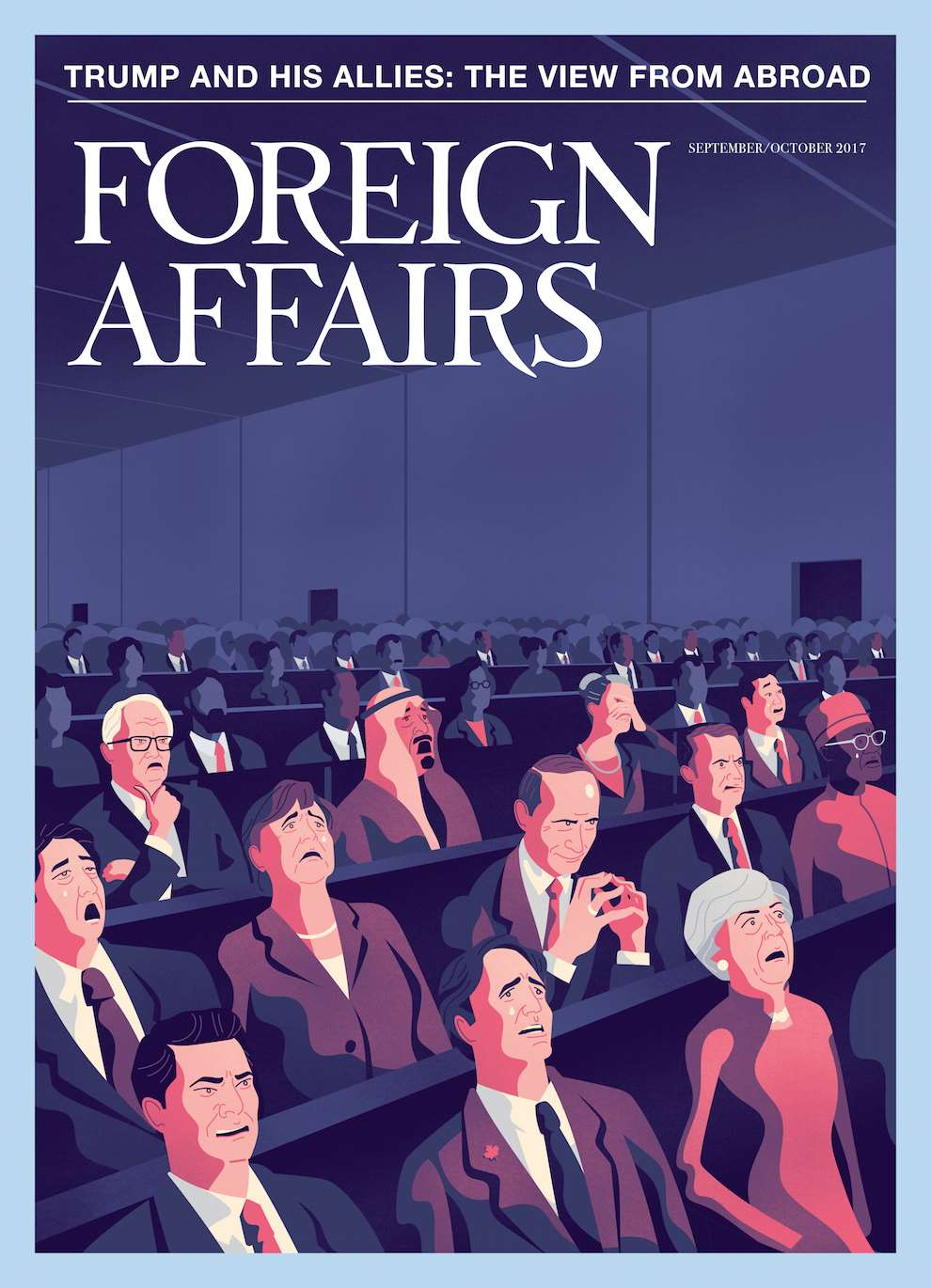 Jack Daly, Digital illustrated Foreign Affairs Poster titled 'Trump and his Allies: The view from Abroad,  with illustrated Theresa May and Putin.