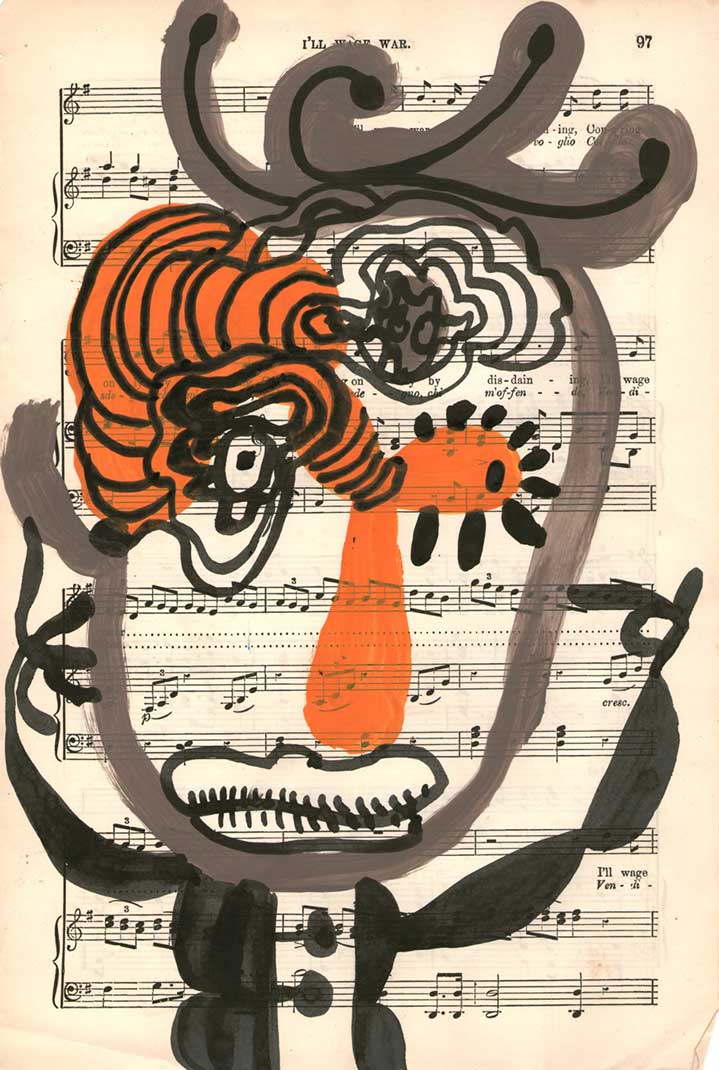 Chris Gilvan Cartwright, Abstract hand painted man on a music sheet