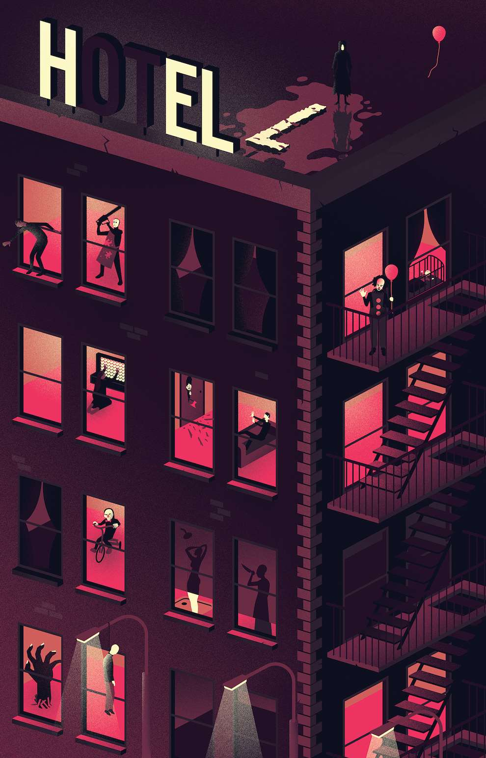 Jack Daly, Isometric digital illustration of a hotel featuring clown characters.
