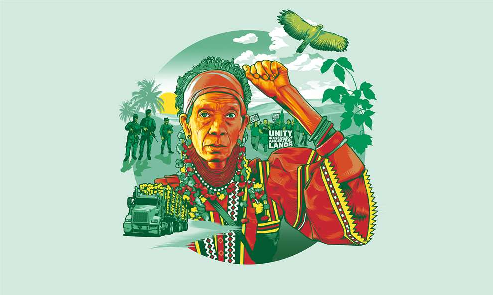 Benjamin Wachenje, Illustration for NGO Global Witness exploring the threat of the climate crisis against land and environmental defenders.