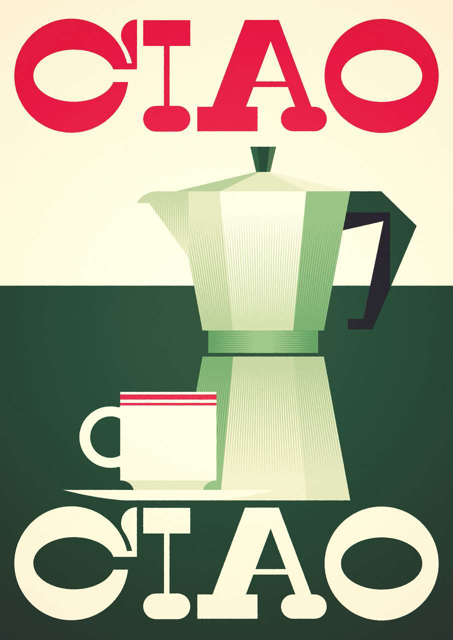 Stanley Chow, Bold and graphic digital illustration of coffee.