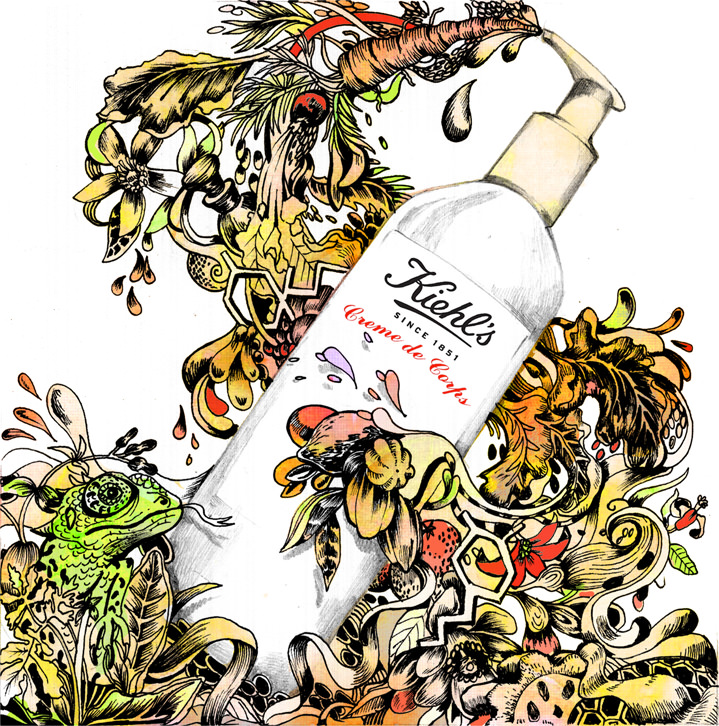 Good Wives and Warriors, detailed and colourful illustrations for cosmetic packaging